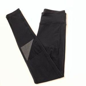 Lululemon Black Leggings With Mesh & White Stripes